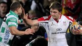 Iain Henderson tries to brush off Fabio Semenzato at Ravenhill