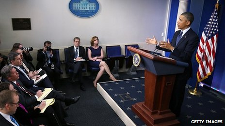 President Obama addresses reporters in the White House. 1 March 2013
