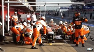 Force India pit crew