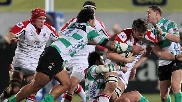 Match action from Ulster against Treviso at Ravenhill