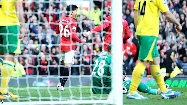 Manchester United celebrate Shinji Kagawa&#039;s goal