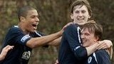 Falkirk's Blair Alston celebrates opening the scoring