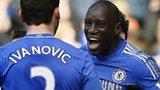 Demba Ba celebrates scoring for Chelsea