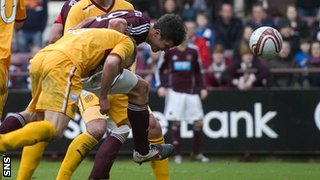 John Sutton scores for Hearts against Motherwell
