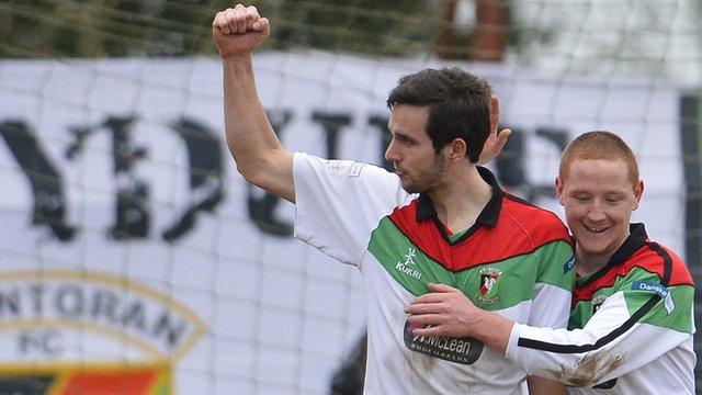 Glentoran's Andrew Waterworth celebrates his goal against Knockbreda