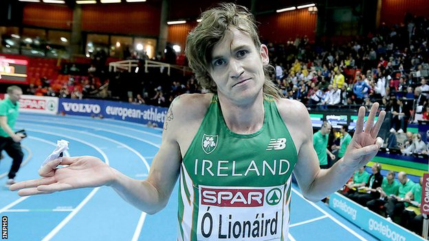 Ciaran O'Lionaird indicates that he gave his all in Saturday's 3,000m in Gothenburg