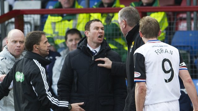 Ross County manager Derek Adams exchanges words with Inverness boss Terry Butcher