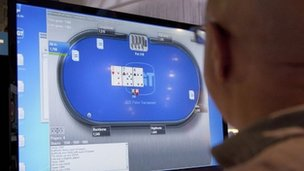 Online poker being played in Las Vegas