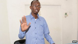 Abdiaziz Abdinur Ibrahim in court in Mogadishu (3 March 2013)