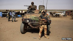 French soldiers and an armoured car in Mali, 2 March 2013