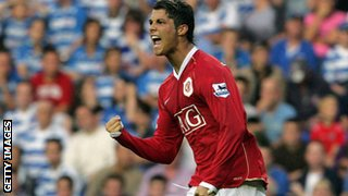 Cristiano Ronaldo scores against Reading
