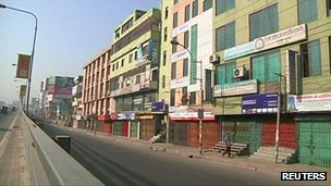Shuttered shops in Dhaka