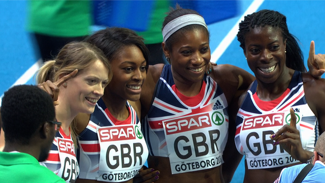 Britain's women win gold in the 4x400m relay final