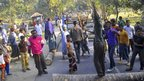 Protesters use logs to block traffic during a nationwide strike called by Jamaat-e-Islami  in Rajshahi, Bangladesh