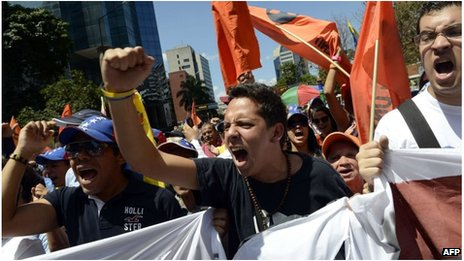 Students protest in Caracas, Venezuela