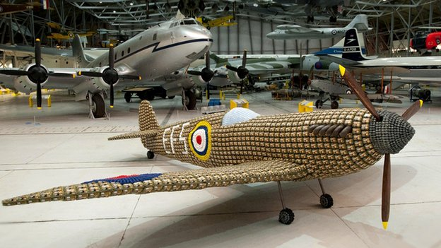 Life size model of a Spitfire created out of egg boxes