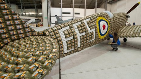 It took designer six weeks to build the egg box fighter plane