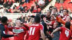As Cardiff seek an equaliser, a goalmouth scramble resembles rugby action