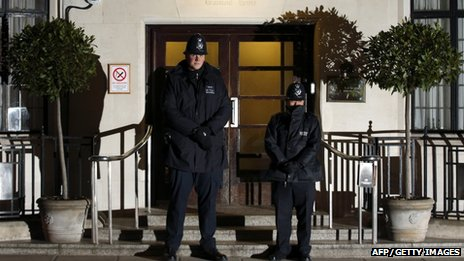 Police officers outside the King Edward VII Hospital in London, where the Queen has been admitted