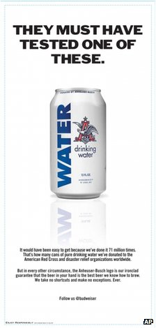 Anheuser Busch's can-of-water advert