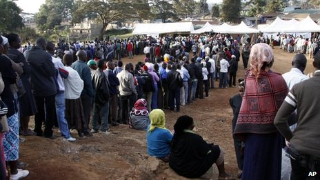 Kenyans line up to vote in a general election in Nairobi, Kenya on  Monday 4 March 2013