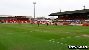 Whaddon Road, home of Cheltenham Town FC