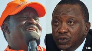 Raila Odinga (left) Uhuru Kenyatta (right)