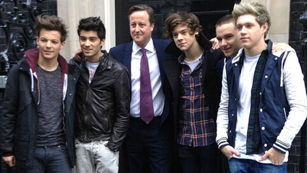 One Direction with British Prime Minister David Cameron