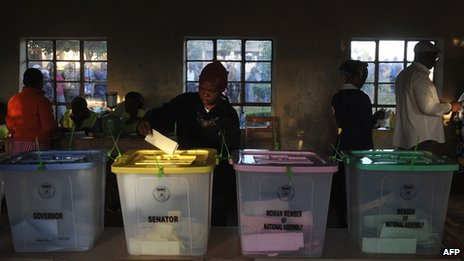 Voter puts a ballot paper into the senatorial box as voting kicked off in Kenya on 4 March 2013 in the country's western province in Kakamega