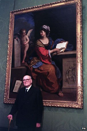 Sir Denis Mahon with the 1651 work at the National Gallery