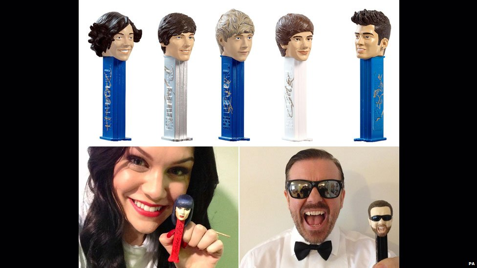 One Direction, Jessie J and Ricky Gervais Pez dispensers