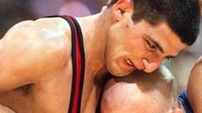 Armen Nazaryan (left) beat Brandon Paulson to win Olympic gold in 1996