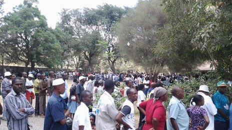 Long queues at Mama Ngina primary school - Photo By BBC's Emmanuel Ignunza