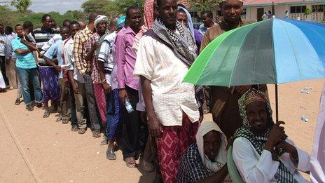 Men queuing to vote in Garissa, Kenya - 4 March 2013 (Photo by BBC's Bashkas Jugsodaay)