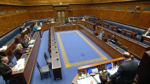 Interior of Stormont Assembly during Monday's session