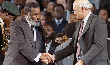 Namibian President Sam Nujoma with South African President FW de Klerk