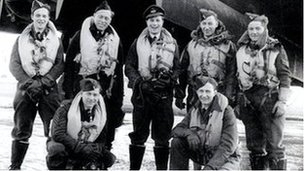 1. Flt Lt J Whiteley DFC (centre) and his 619 Squadron crew