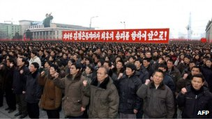 North Koreans at a public celebration event for the nuclear test, Pyongyang (14 Feb 2013)