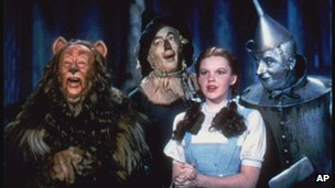 Judy Garland and the other characters of The Wizard of Oz