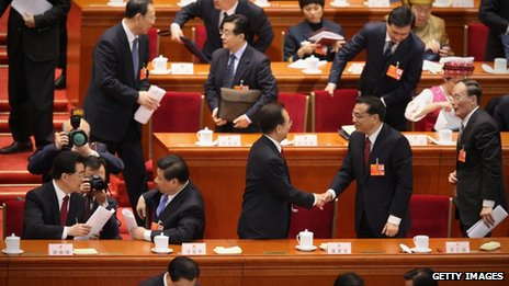 Chinese Communist Party leaders after the opening session of the annual National People's Congress in Beijing, 5 March 2013