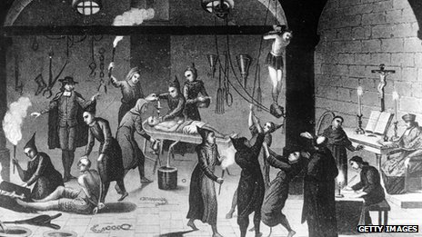 An engraving showing torture under the Spanish Inquisition