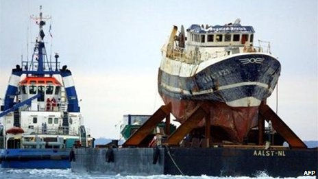 File photo of the wrecked Bugaled Breizh in January 2004. Pic: AFP