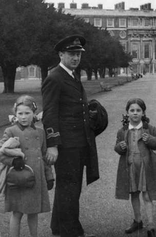 "Lieutenant Theo ""Rusty"" Ionides with his daughters Penelope and Anthea at Hampton Court Palace"