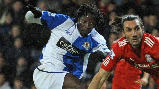 Benjani Mwaruwari (left) during his days with Blackburn