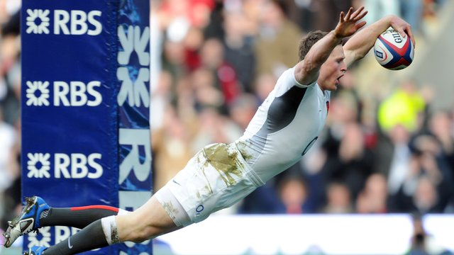 Chris Ashton scores one of his four tries against Italy in 2011