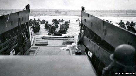 View from a barge dropping troops on D-Day