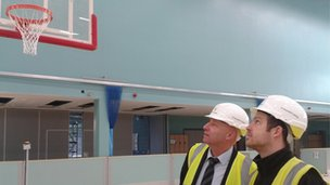 Mick Donovan, from the university, and project assistant building manager Andrew Hill