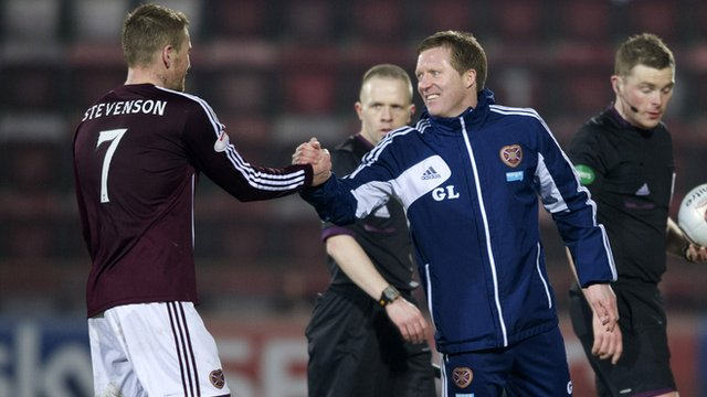 Hearts interim manager Gary Locke congratulates scorer Ryan Stevenson