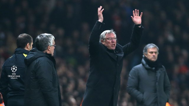 Sir Alex Ferguson reacts to Nani's red card