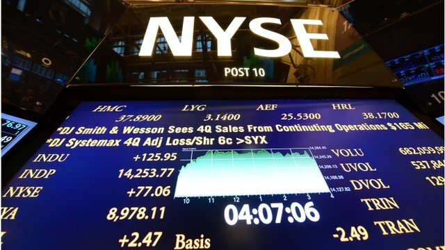 An electronic board at the New York Stock exchange
